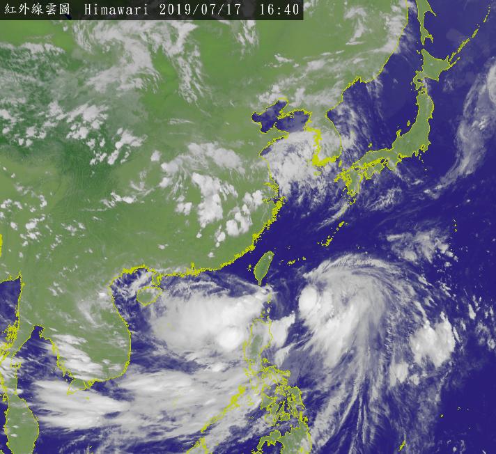 丹娜絲將與東方雲系合體,路徑將可能大幅度往東偏移。圖/取自氣象局