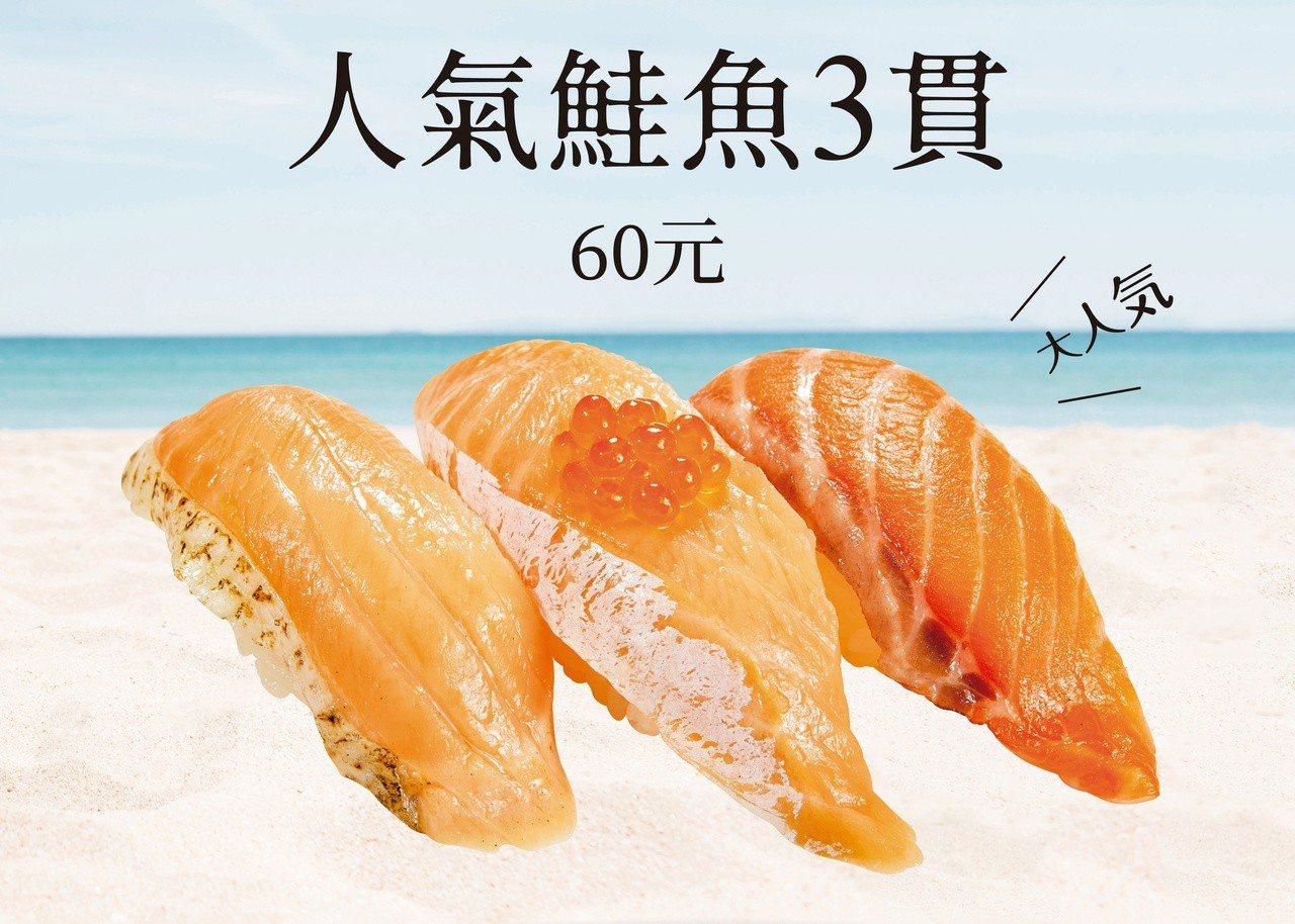 壽司郎於民權建國店限定推出「人氣鮭魚3貫」,內含有炙烤鮭魚肚、鮭魚腹親子、大切生...