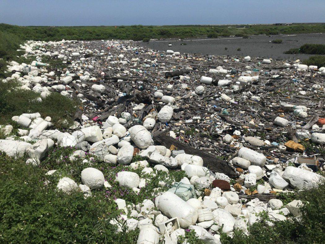 大城鄉大城南段海堤多漂流木、保麗龍浮球等廢棄物。圖/彰化環保局提供