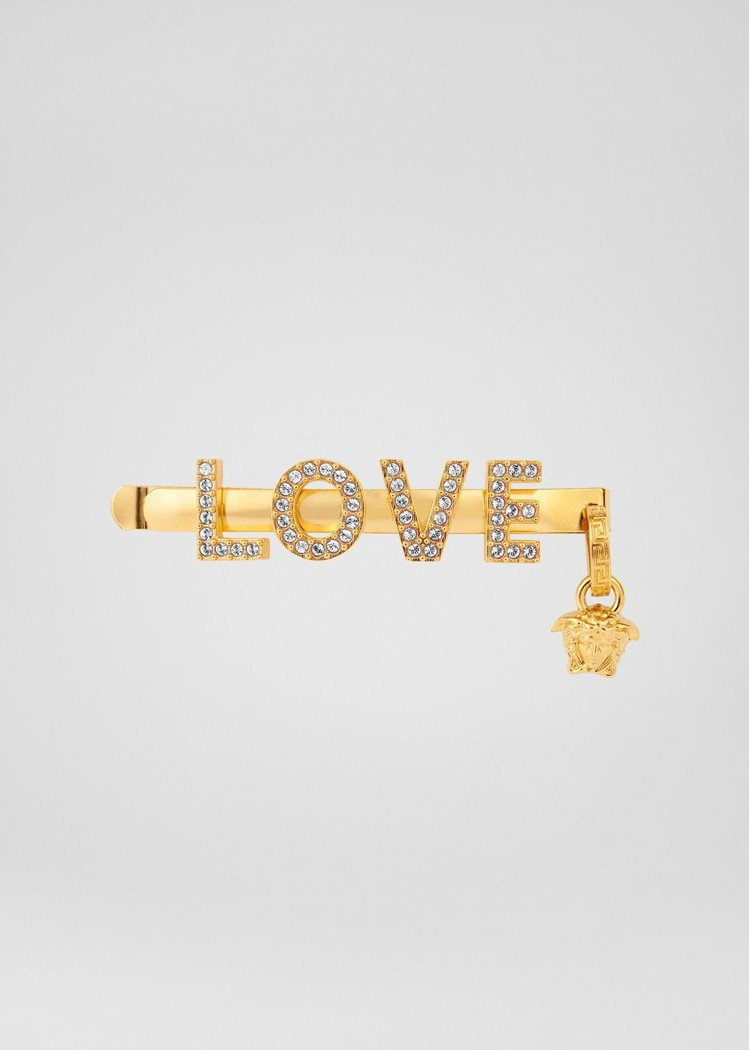 Love透明水鑽造型髮夾,12,000元。圖/Versace提供