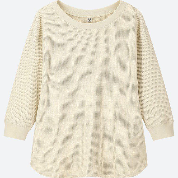 華夫格圓領T恤 (七分袖),售價590元。圖/UNIQLO提供