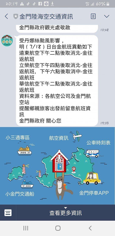 受颱風影響,明日下午的台金航班大多取消。記者蔡家蓁/攝影