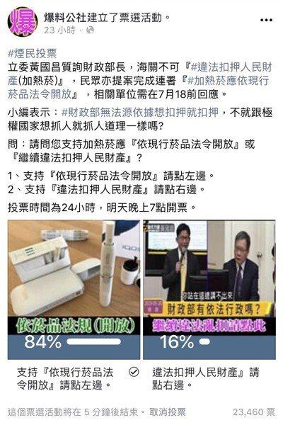 網友日前在爆料公社投票,有84%支持加熱菸依法開放;國健署昨天表態,拒絕加熱式菸...