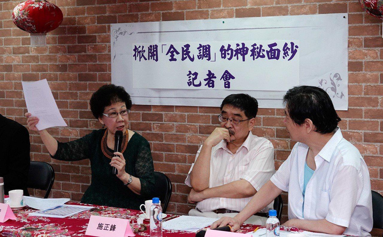 在兩黨總統初選民調結果出爐後,前副總統呂秀蓮(左)上午在台北市舉行「揭開全民調的...