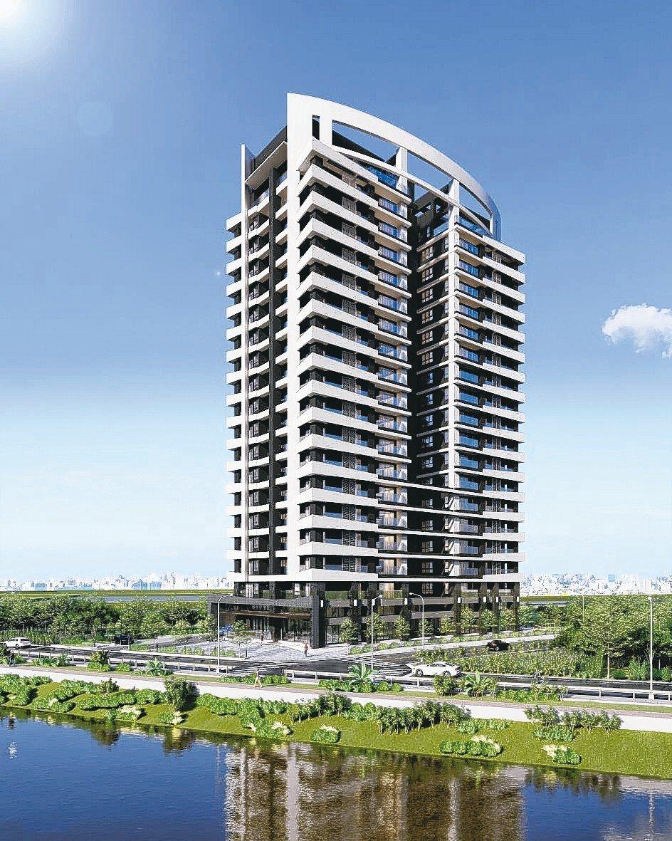 好瀚建設與子公司瀚翔建設於九份子重劃區聯手興建「在水一方」。 天子廣告/提供