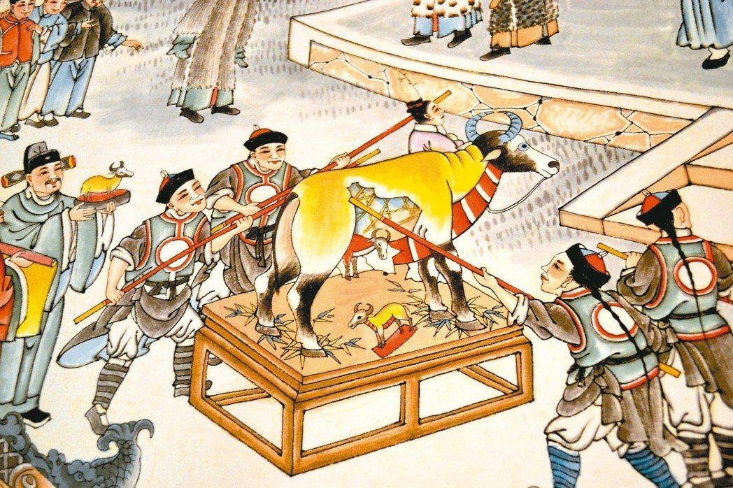 「迎春圖」打假牛肚,掉出小牛,代表豐收。