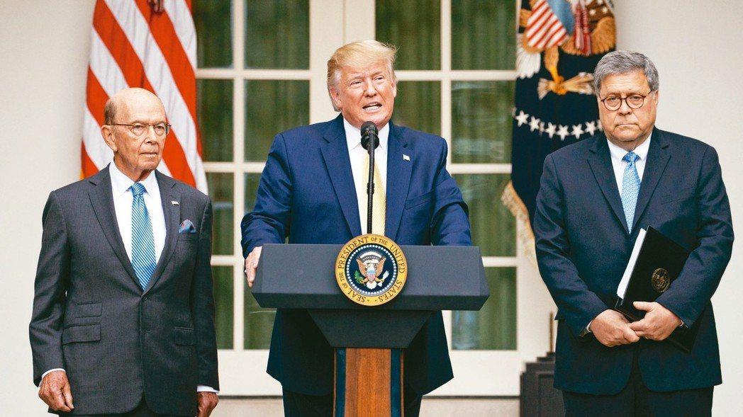 美國眾議院槓上川普總統(中)領導的行政部門,認定司法部長巴維理(右)和商務部長羅...