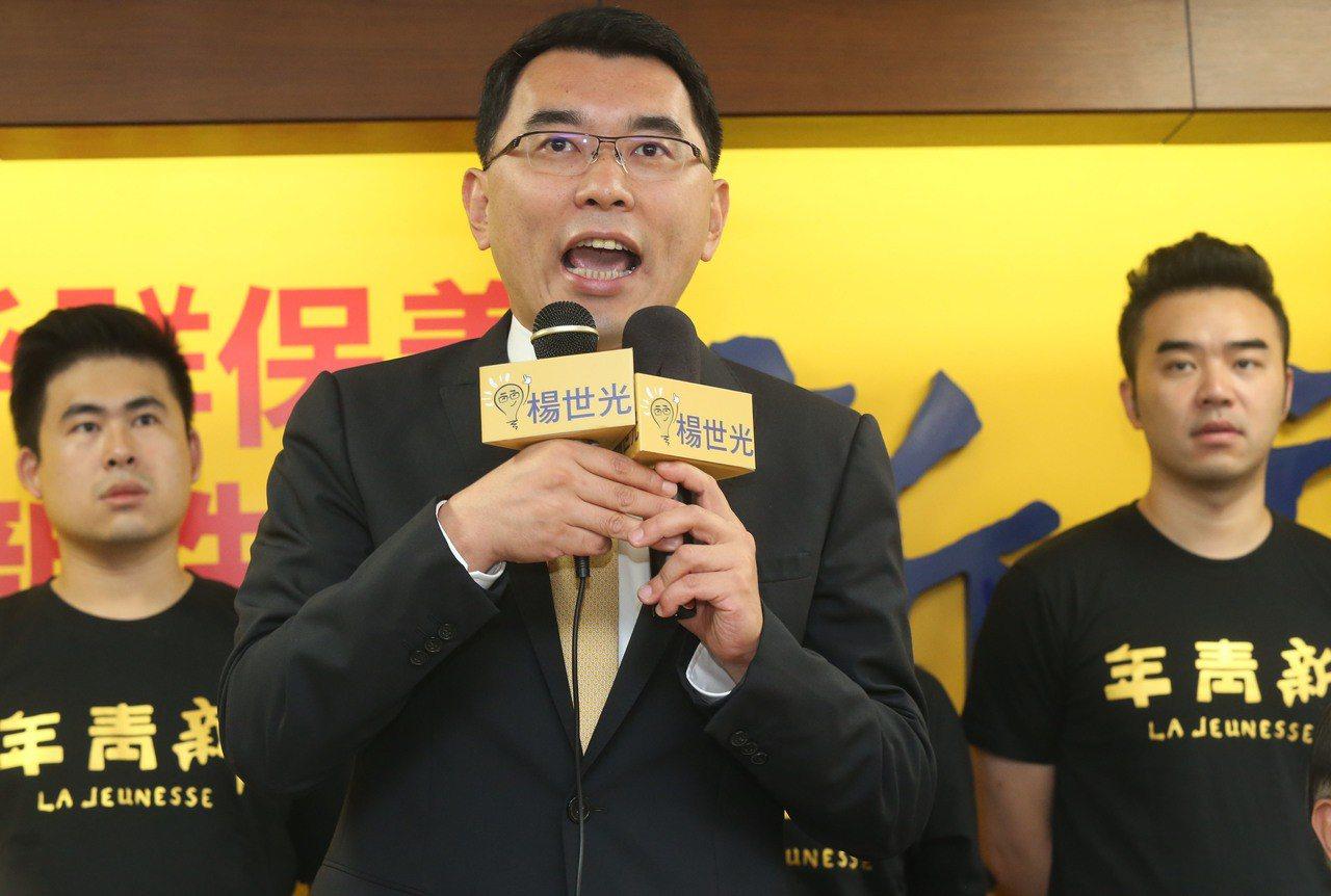 新黨提名青年團團長楊世光(中)參選2020總統,新黨表示很大的目的,是希望刺激國...