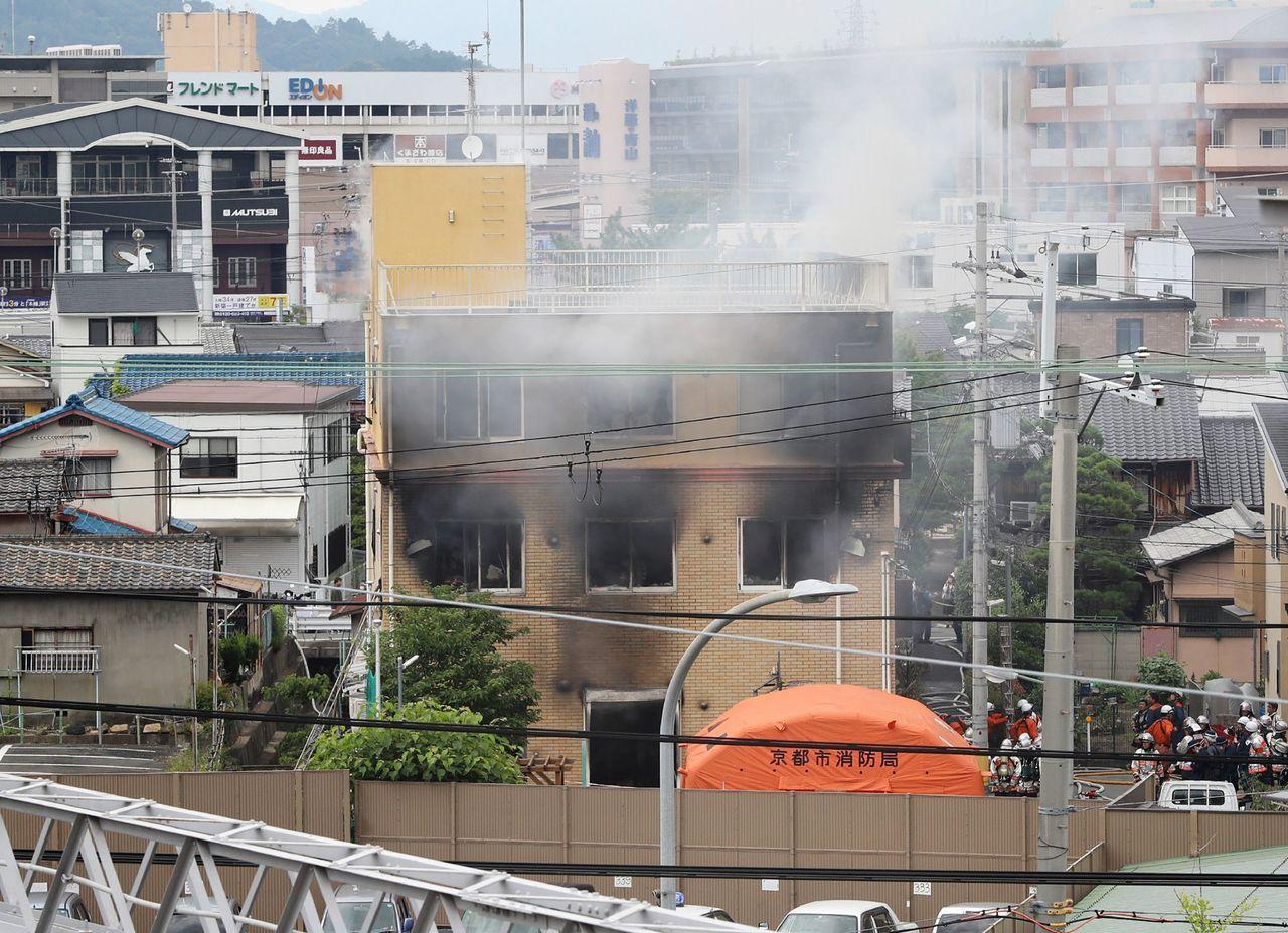 日本動畫製作公司「京都動畫」工作室遭人縱火,死傷人數持續攀升。 法新社