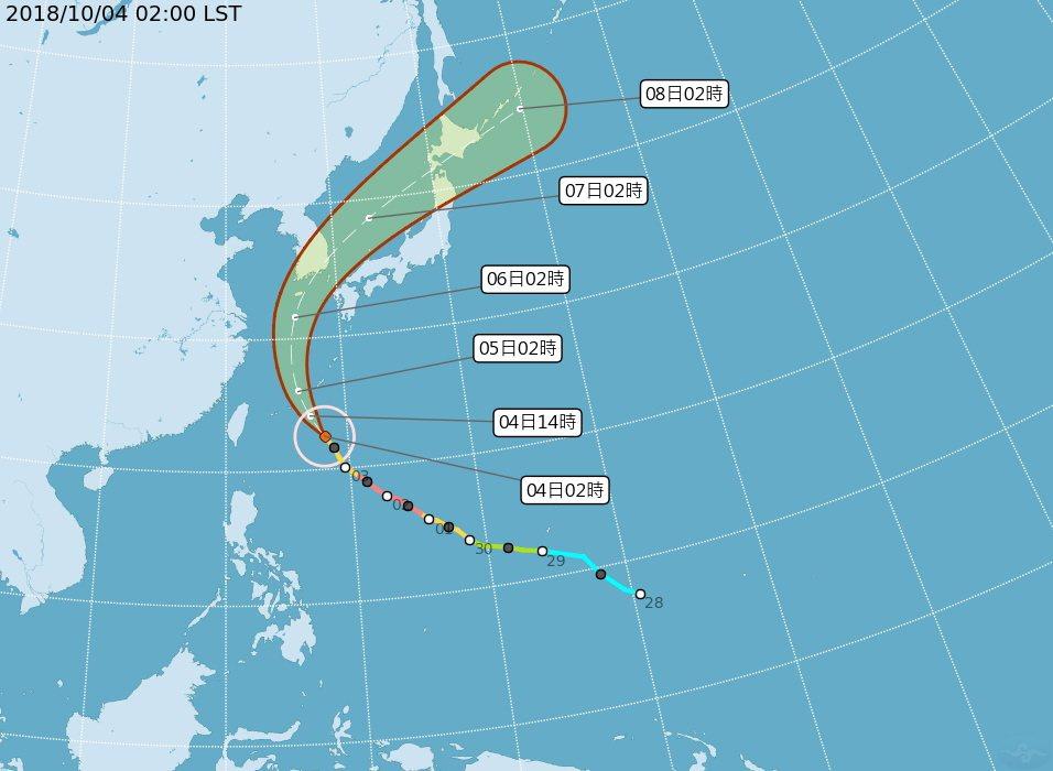 颱風康芮轉向資料圖。 圖片來源/中央氣象局