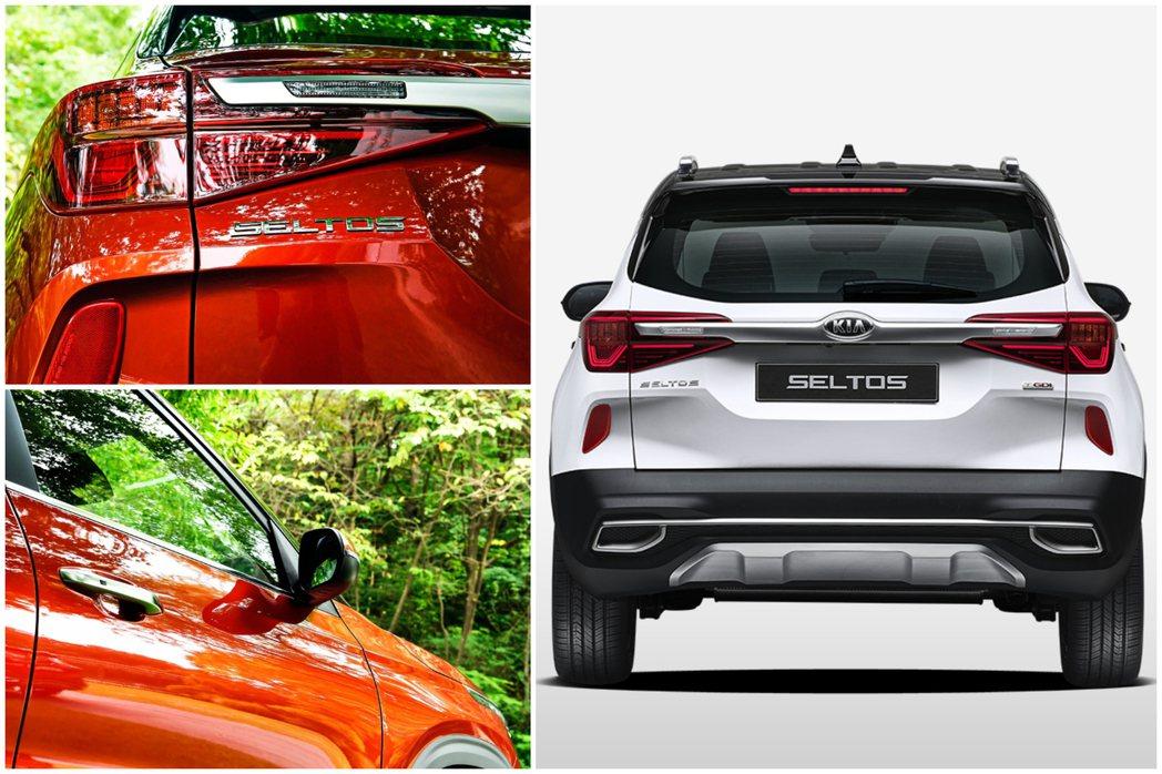 全新Kia Seltos車尾部份,其中,倒車燈是鑲嵌在連耶尾燈上的鍍鉻飾條裡。 ...