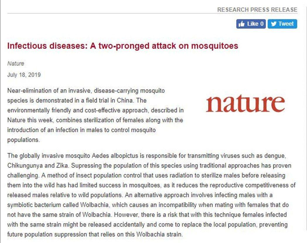 國際權威科學期刊「自然」(Nature)雜誌網站/截圖