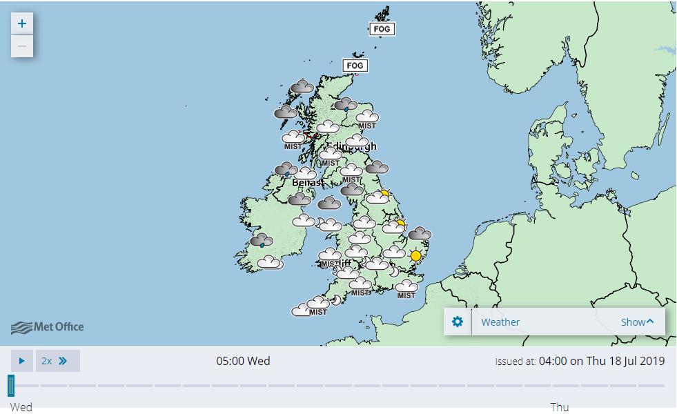 英國氣象雷達將飛行的飛蟻群誤以為是雲雨。取自英國氣象局