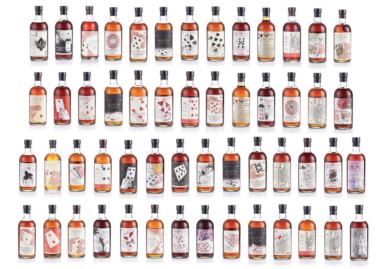 羽生伊知郎全副撲克牌系列威士忌共54瓶一套,估價約1,800萬元。圖/邦瀚斯提供