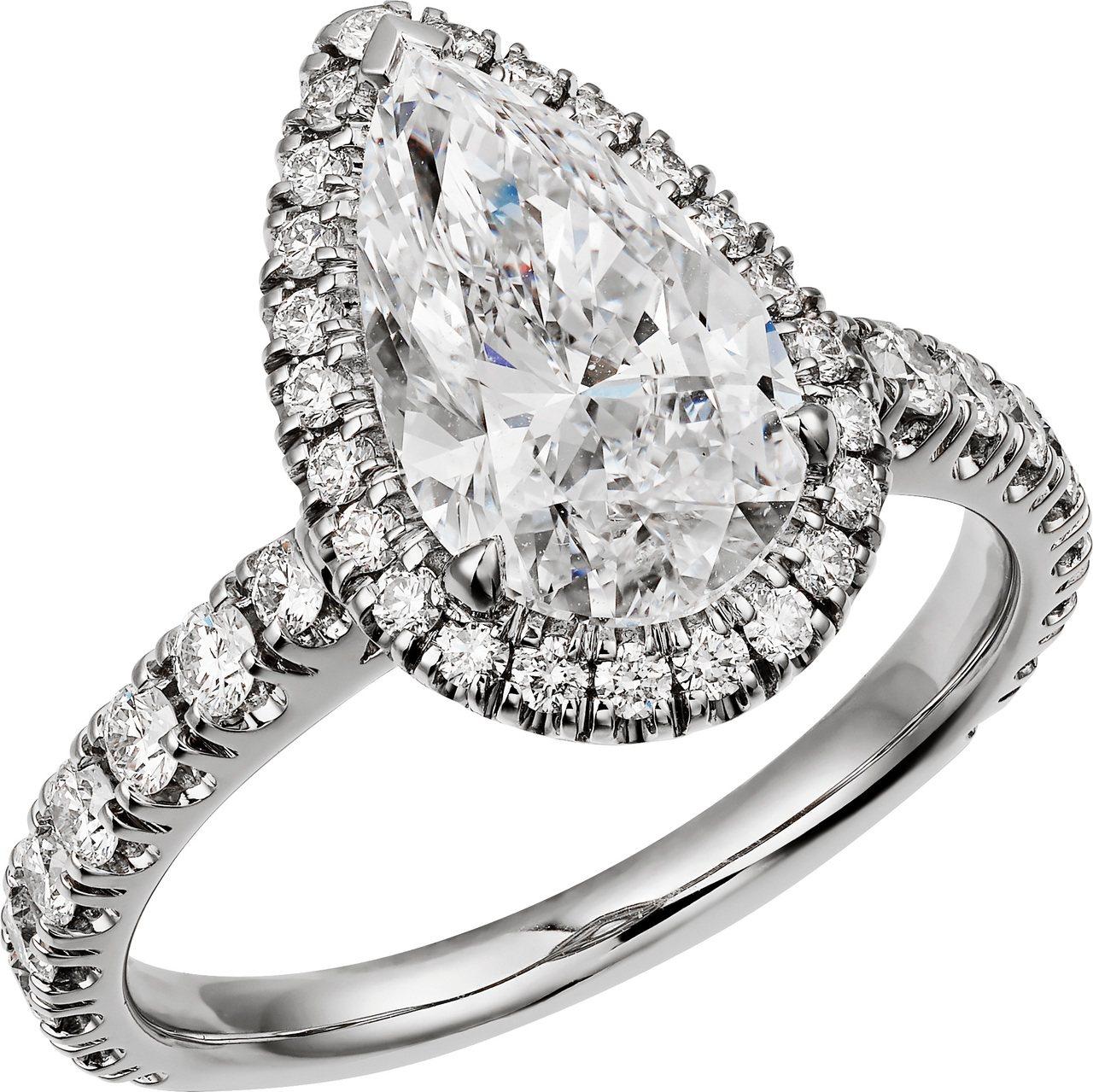 Cartier Destinée系列梨形切割鑽石戒指,主石2-2.50克拉,4...
