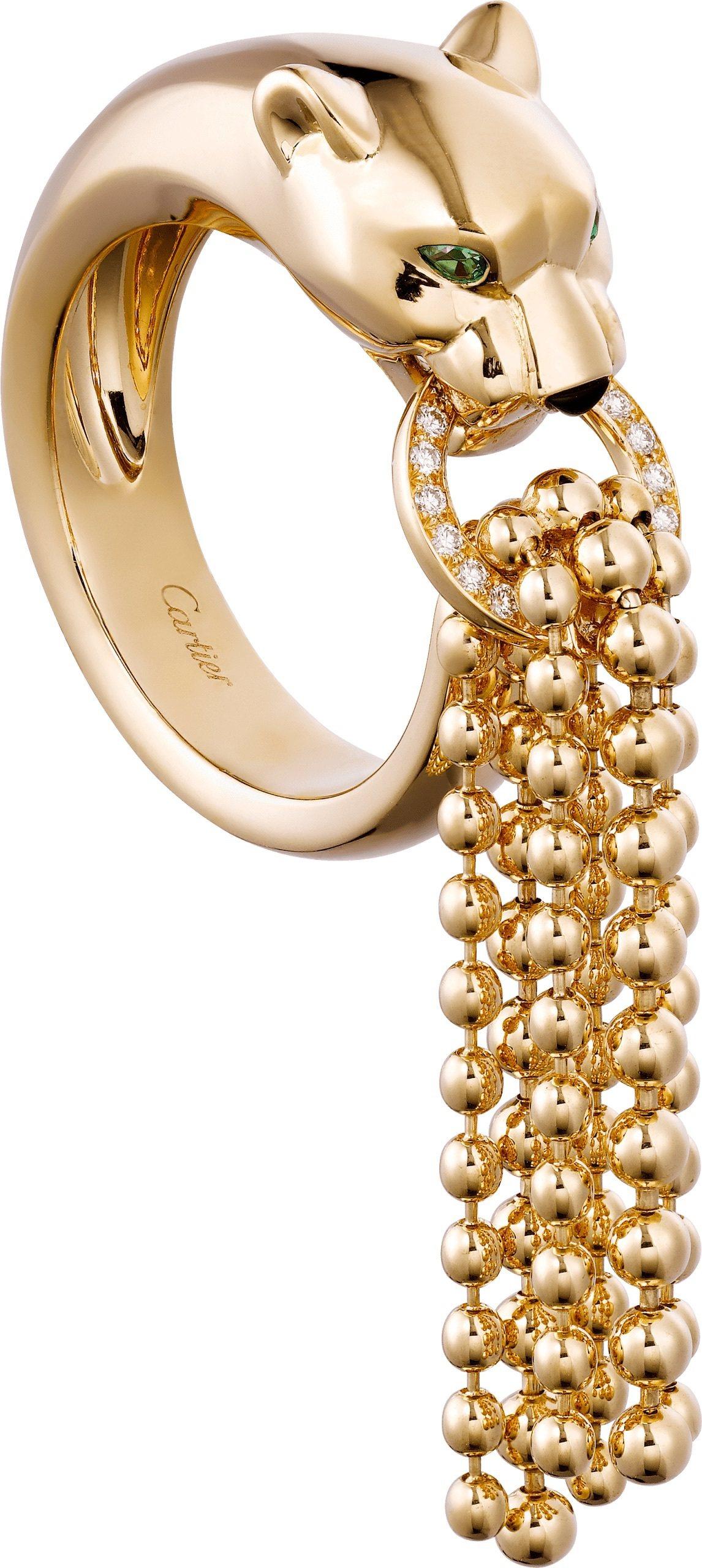 Panthère de Cartier美洲豹系列鑲鑽流蘇戒指,42萬1,000...