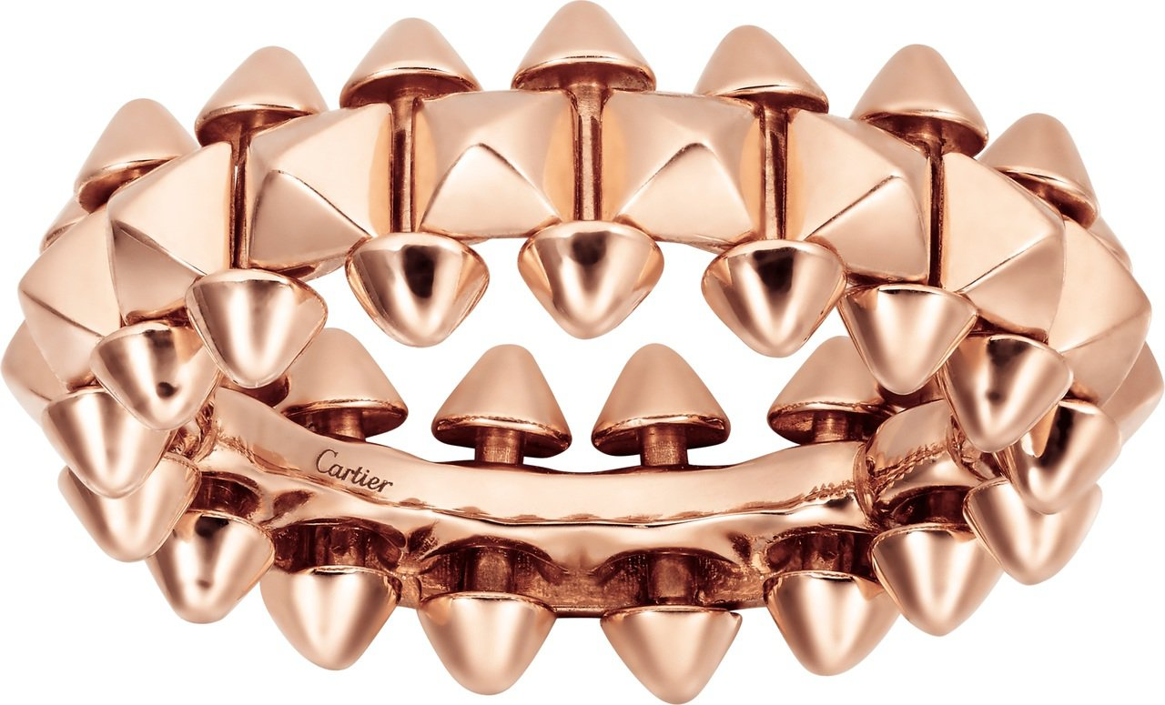 Clash de Cartier 系列玫瑰金戒指中型款,94,000元。圖/卡地...