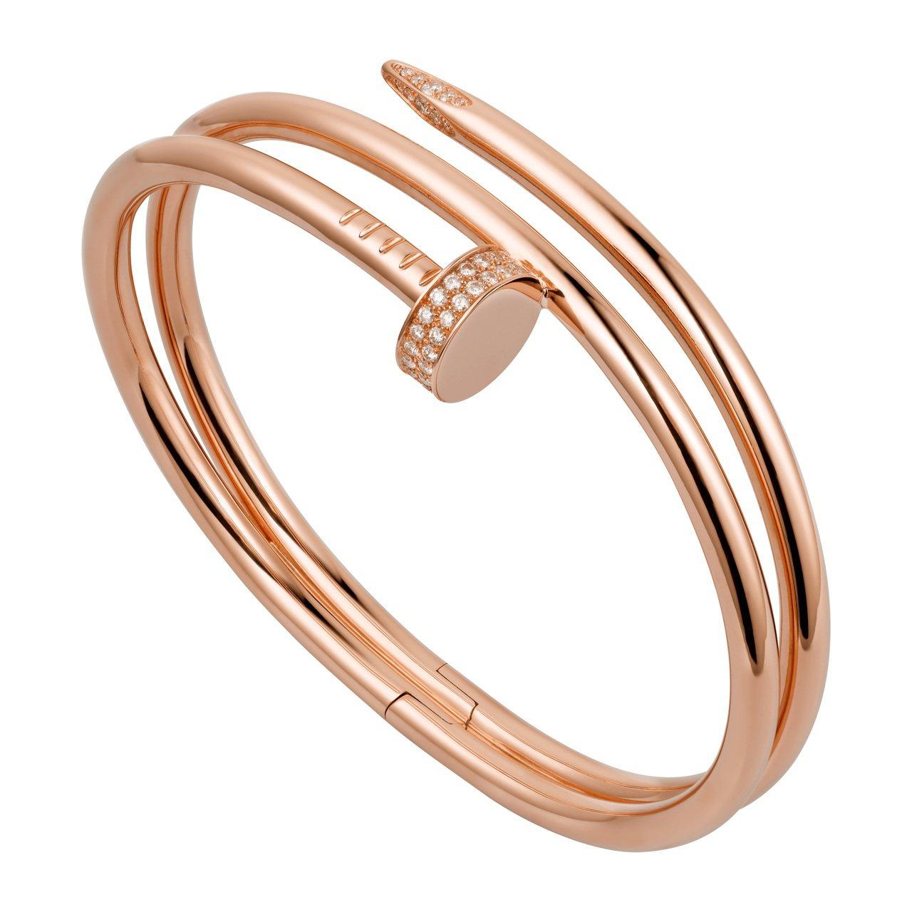 Juste un Clou系列玫瑰金鑲鑽手環,65萬元。圖/卡地亞提供
