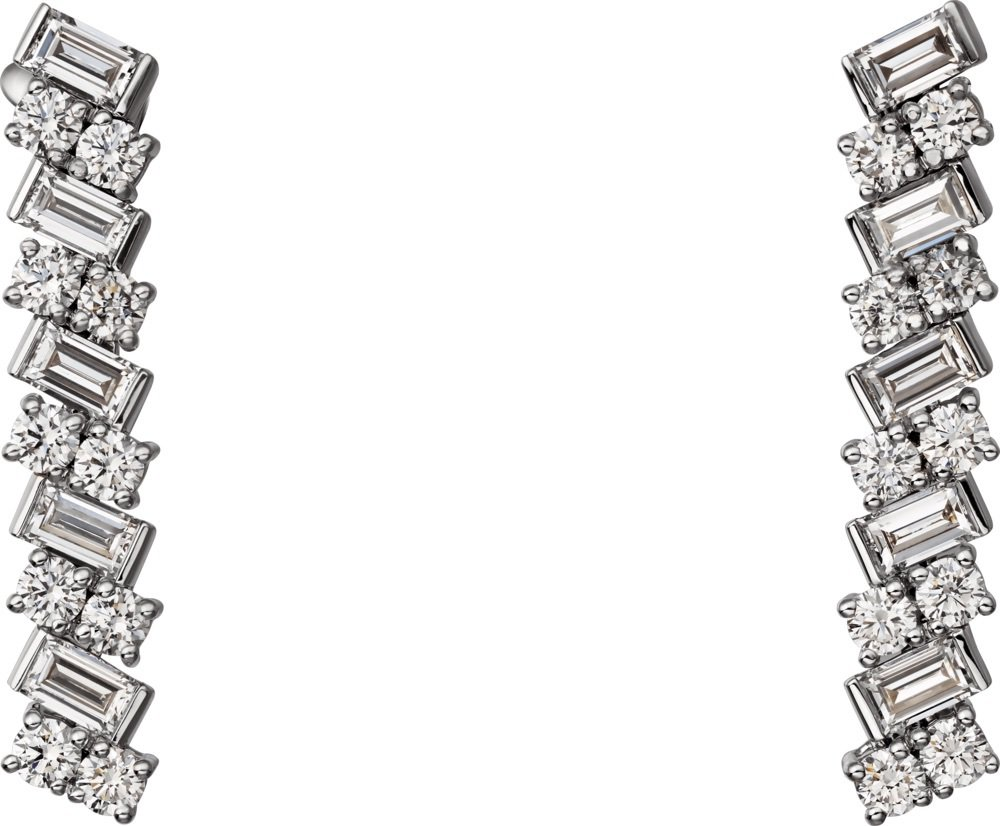 Reflection de Cartier系列白K金鑲鑽耳環,96萬元。圖/卡地...