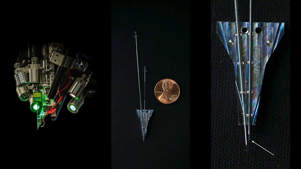 人腦晶片將由暱稱「縫紉機」(左)的精密神經手術機器人,以微創手術方式將細線「縫」...