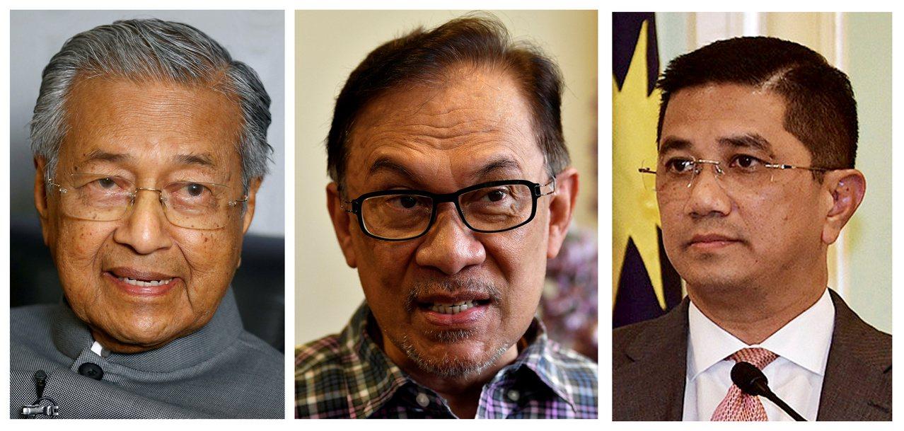 馬來西亞總理馬哈迪(左)的交掰布局牽涉到安華(中)與阿茲敏(右)的權力鬥爭。路透