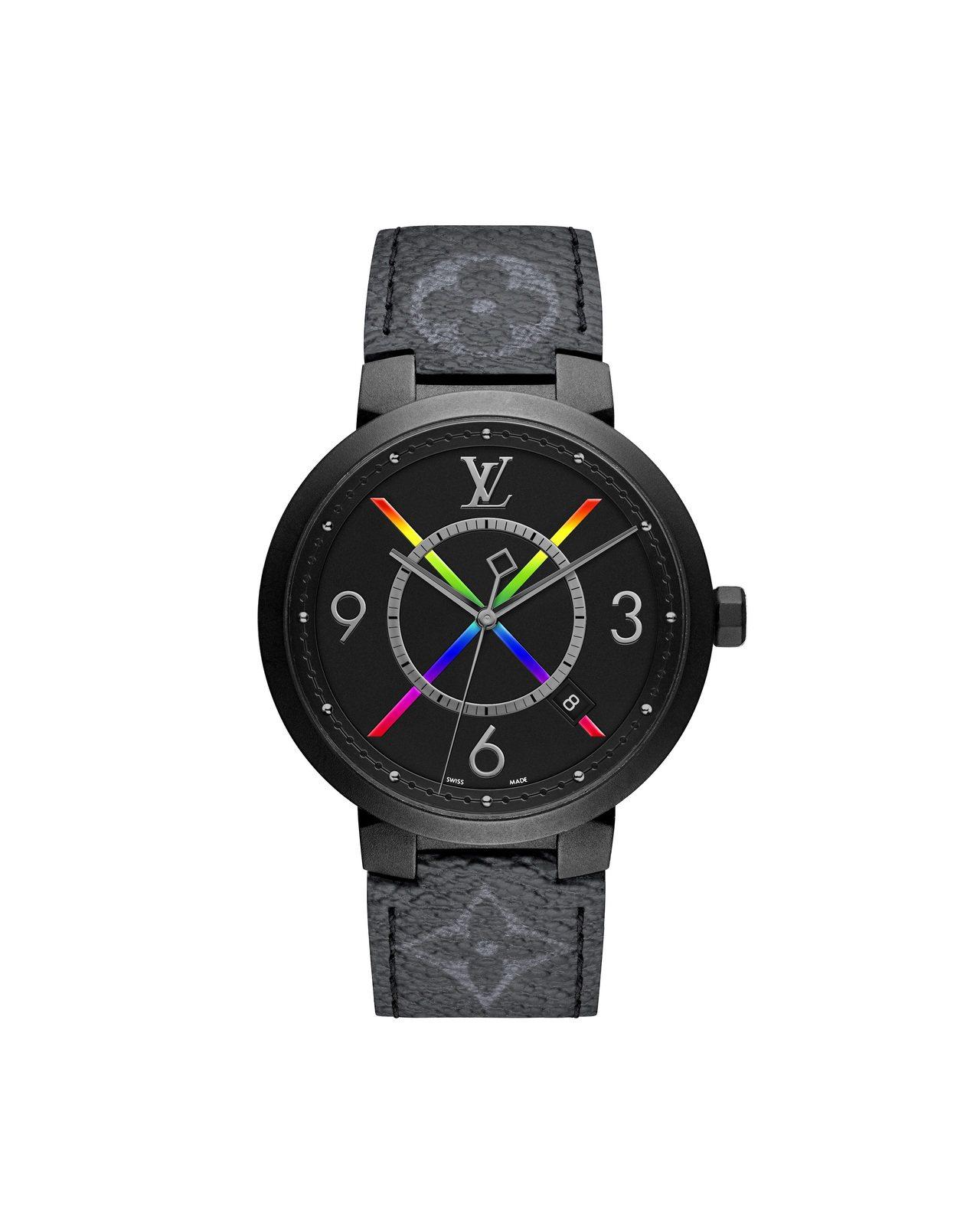 路易威登Tambour Slim Rainbow腕表,黑色PVD不鏽鋼表殼,具M...