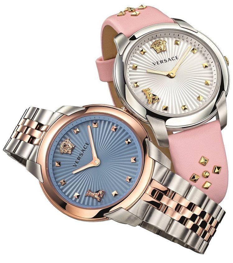 Versace Audrey V. Watch系列腕表,不鏽鋼表殼搭配IP鍍玫瑰...