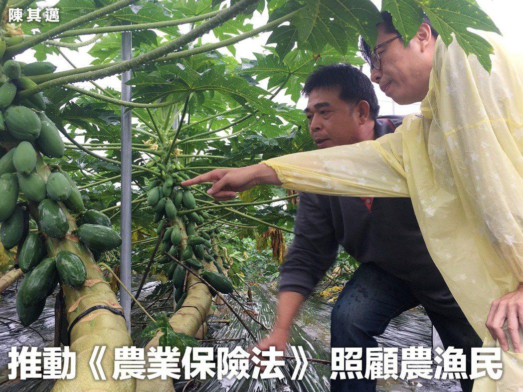 行政院院會昨(18)拍板通過《農業保險法》草案。取自陳其邁臉書