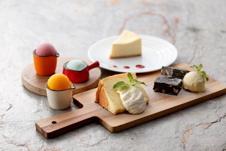 180元的午茶方案,可享蛋糕5擇1、飲料,以及1球義式冰淇淋。圖/石壁家提供