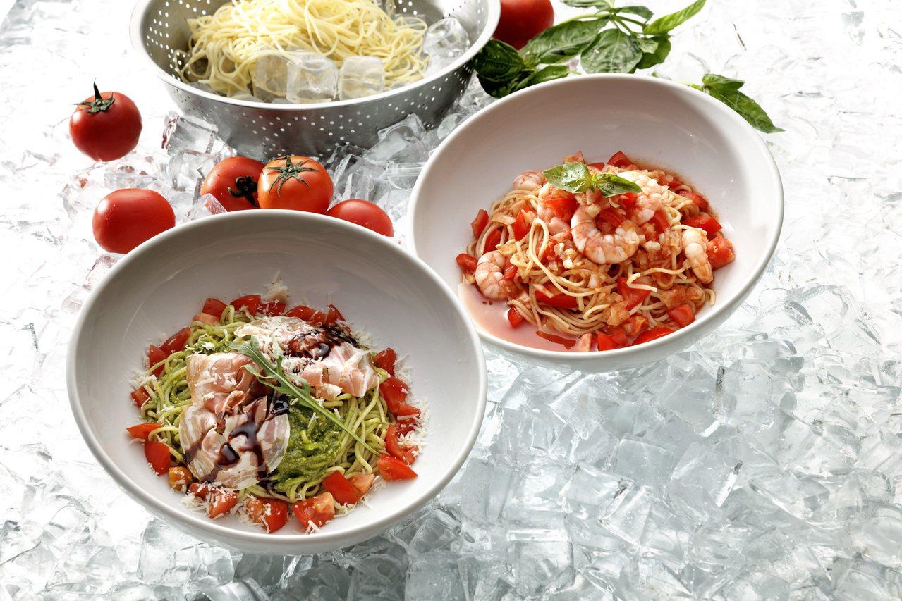 石壁家新推出番茄鮮蝦天使冷麵、潘切達臘腸青醬天使冷麵等2款清爽風格的冷麵料理。圖...