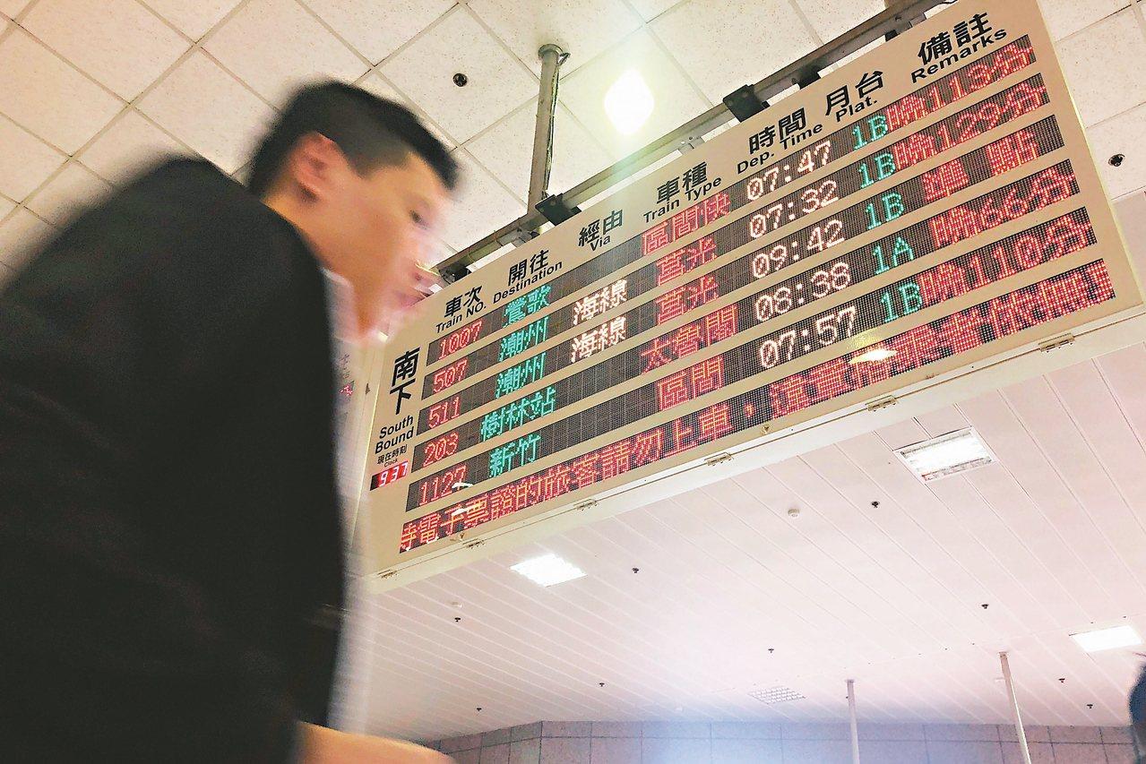 台北車站未來將以LED的電子化時刻表取代翻翻板。 圖/聯合報系資料照片