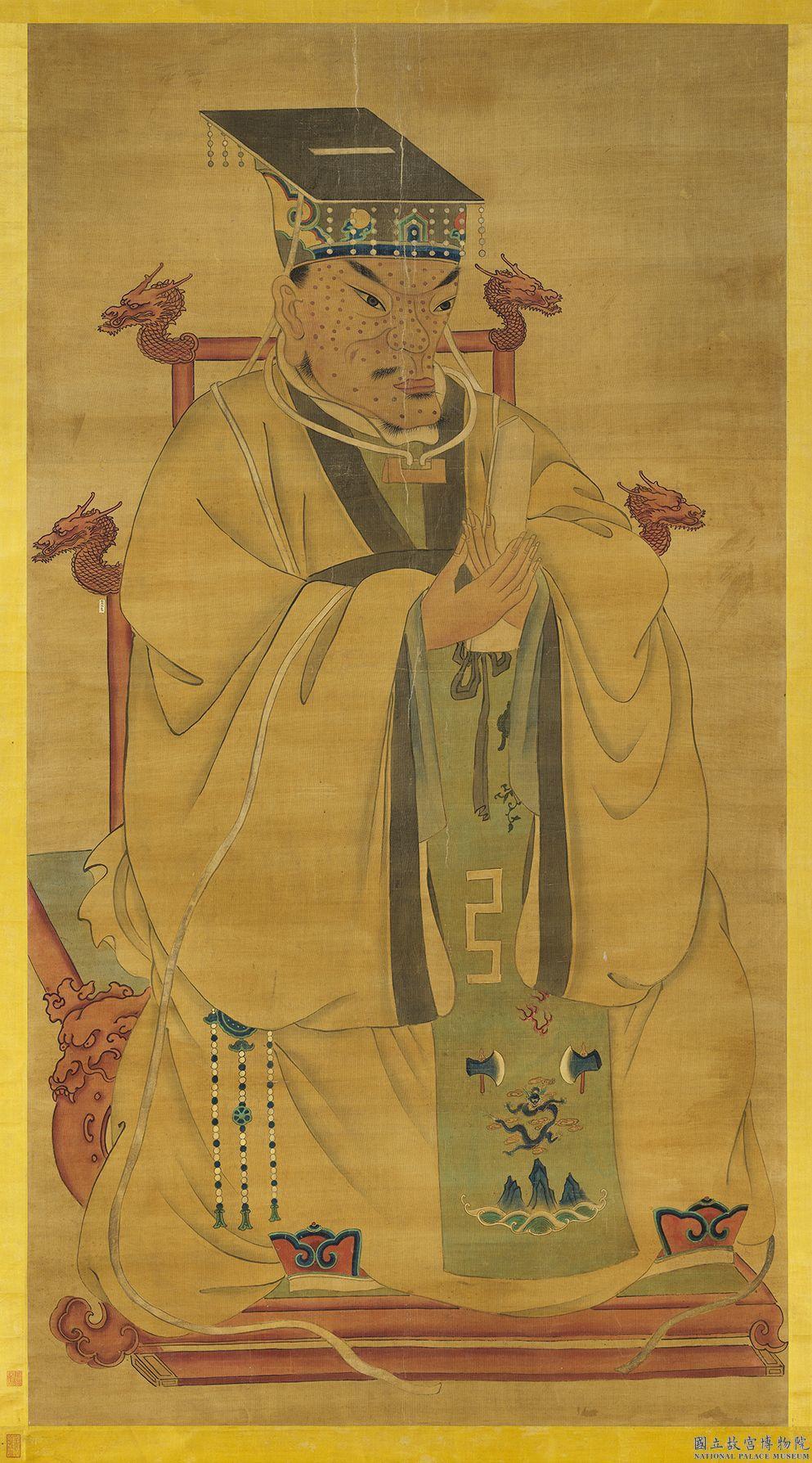 明太祖畫像臉上充滿麻子,有學者分析這是「72痣」象徵富貴。圖/故宮提供