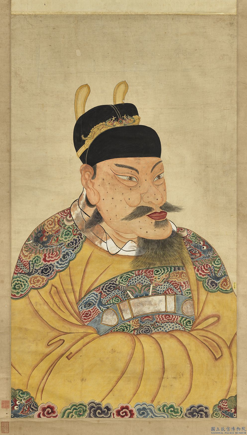 故宮小編曾將明太祖臉上有麻子的畫像作成「有志(痣)青年」放上網站。圖/故宮提供