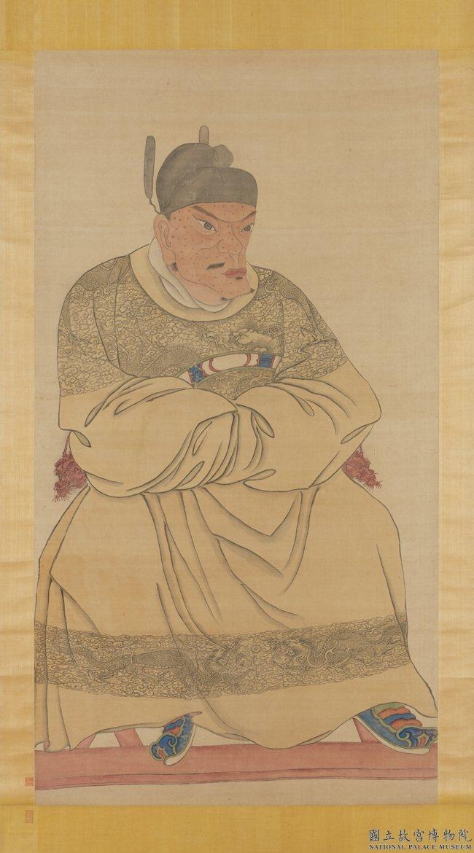 故宮典藏的「明太祖坐像3」將朱元璋的臉畫成下巴奇異扭曲、形如「豬腰」的臉,去年被...