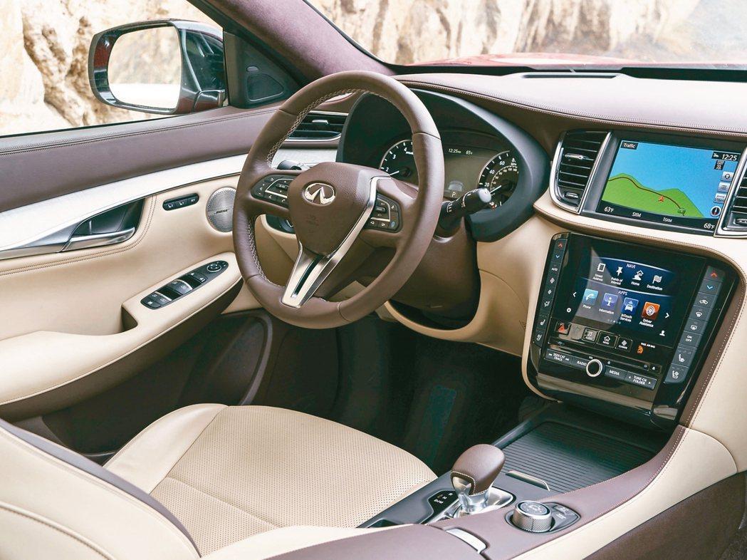 QX50有多項世界首創的安全科技如ProACTIVE智慧駕駛科技,全車系並標配8...