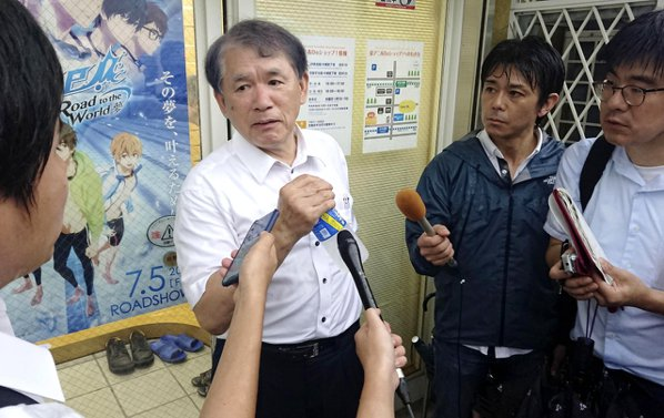 京都動畫社長八田英明在宇治總公司受訪表示,火災現場是企業中樞。 美聯社