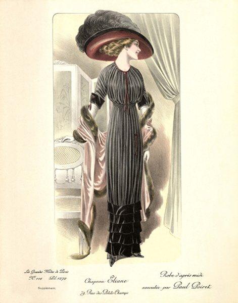 20世紀初期巴黎仕女石版畫。早年波瓦烈設計了一系列高腰線直線型裙裝。憑藉著對色彩...