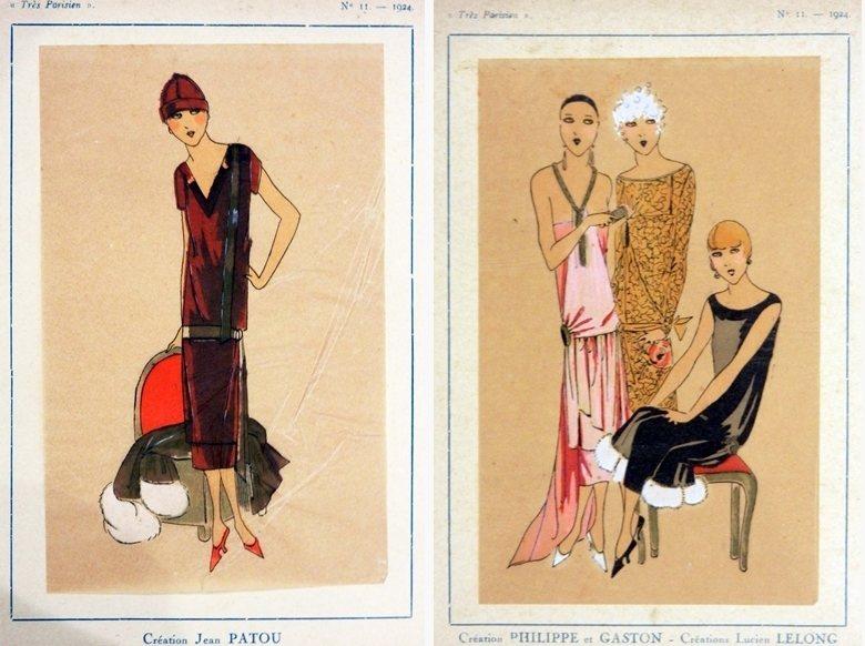 左:1924年尚.帕圖的服裝設計畫稿。右:1924年呂西安.勒隆的服裝設計畫稿。...