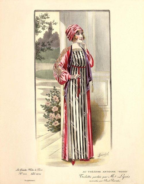 20世紀初期巴黎仕女石版畫。身著保羅波瓦烈設計的寬鬆長袍搭配裙裝,佩戴印度古風的...