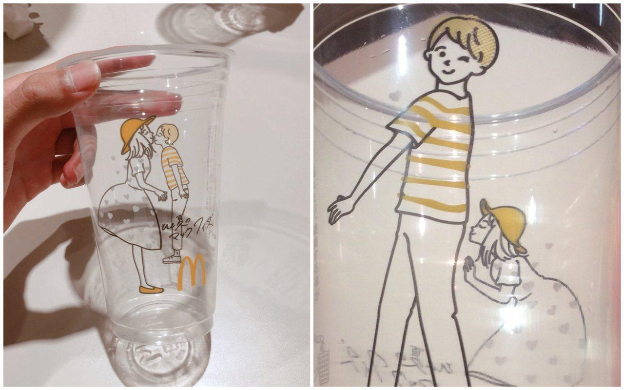 日本網友利用角度不同,讓杯面上的人物升級、擺出「18禁」的不雅姿勢。圖擷自/tw...