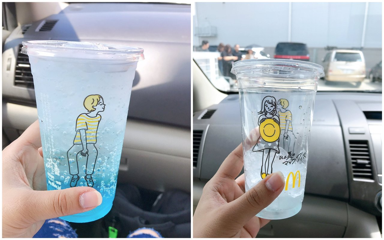 日本麥當勞為夏季期間氣泡飲推出限定版透明杯,轉一轉就可讓杯面的小情侶kiss。圖...