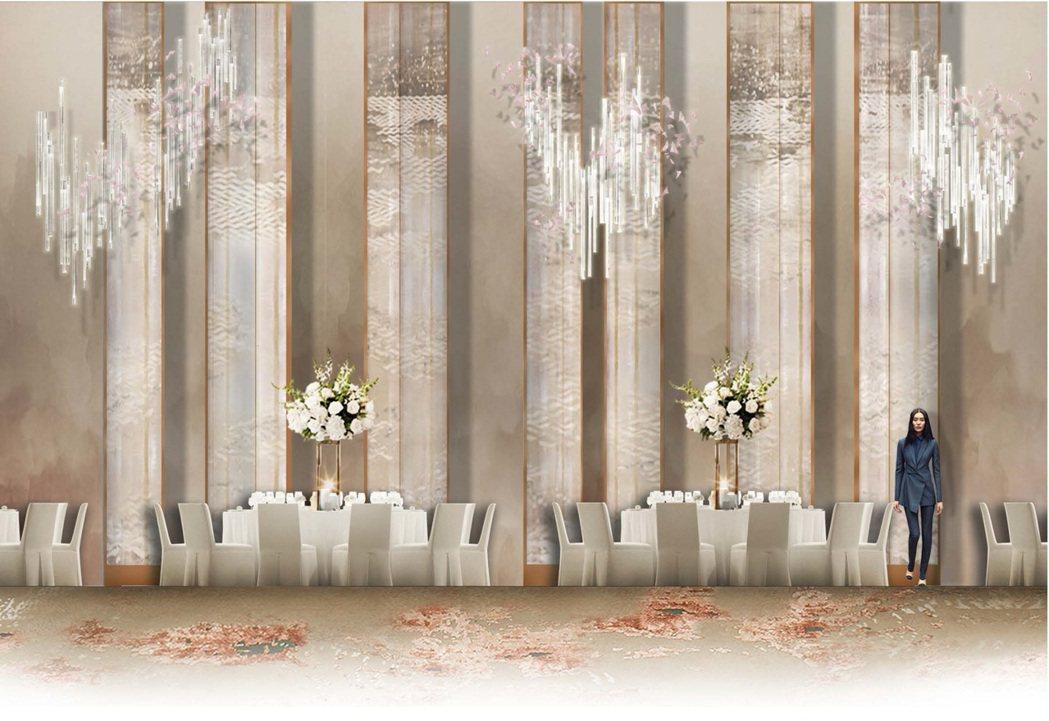 全新改裝的遠東宴會廳融合宋代美學與當代設計。圖/香格里拉台北遠東提供