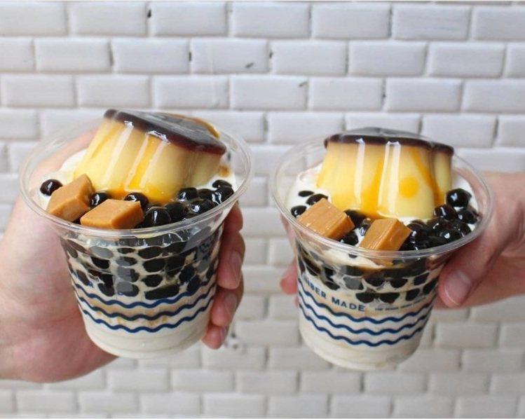 金帛手製三民店最新邪惡組合:「波霸布丁牛奶糖」聖代只賣10天。圖/金帛手製提供