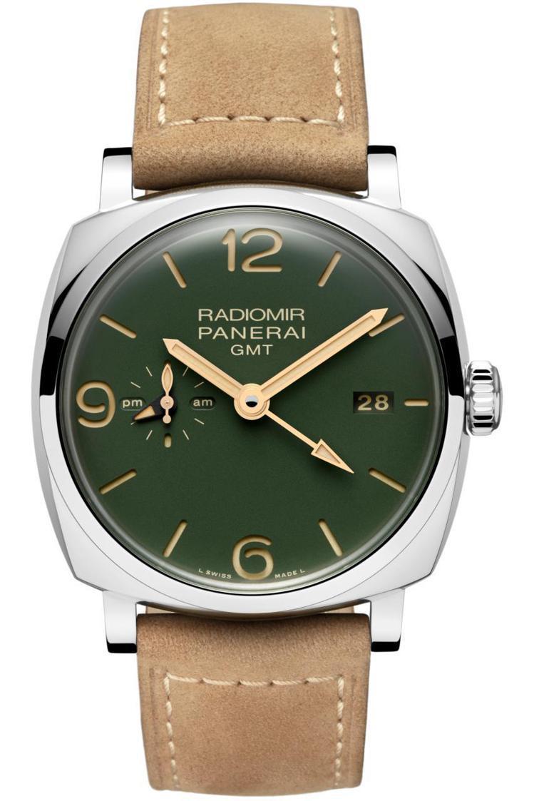 RADIOMIR GMT綠面兩地時45毫米精鋼腕表PAM00998,36萬8,0...