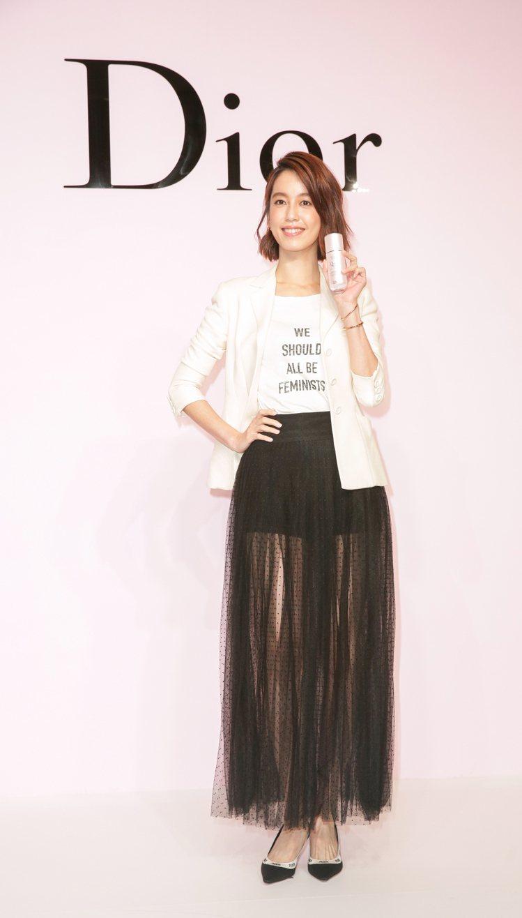 陳庭妮成為迪奧品牌摯友,為全新升級的迪奧超級夢幻美肌萃站台。記者陳立凱/攝影
