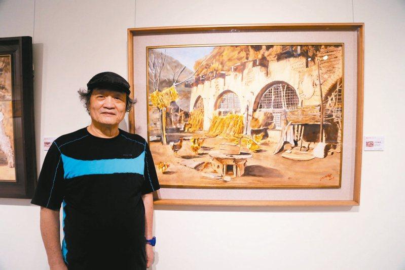 張明祺描繪黃土高原民居的畫作「古窯風韻」。 圖/葫蘆墩文化中心提供