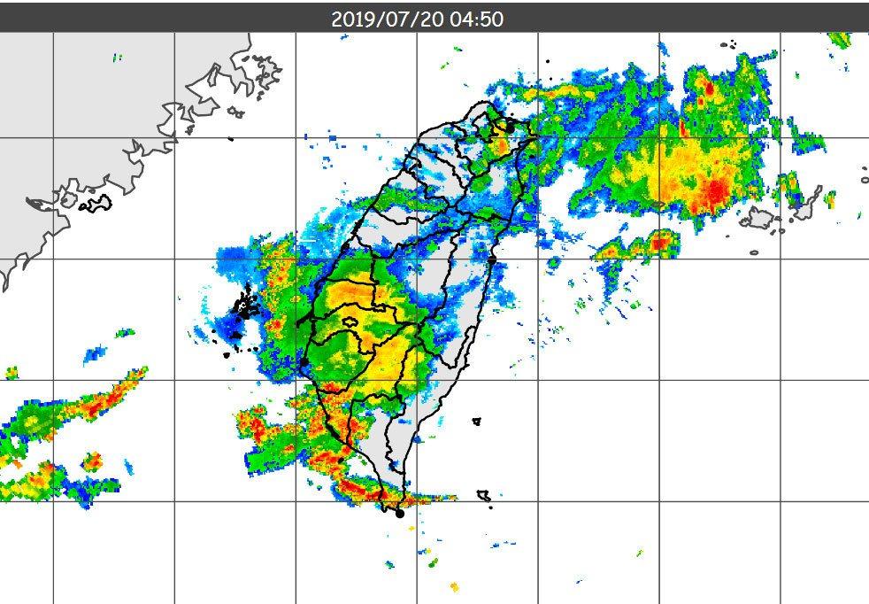 雷達回波。 圖/擷取自中央氣象局網站
