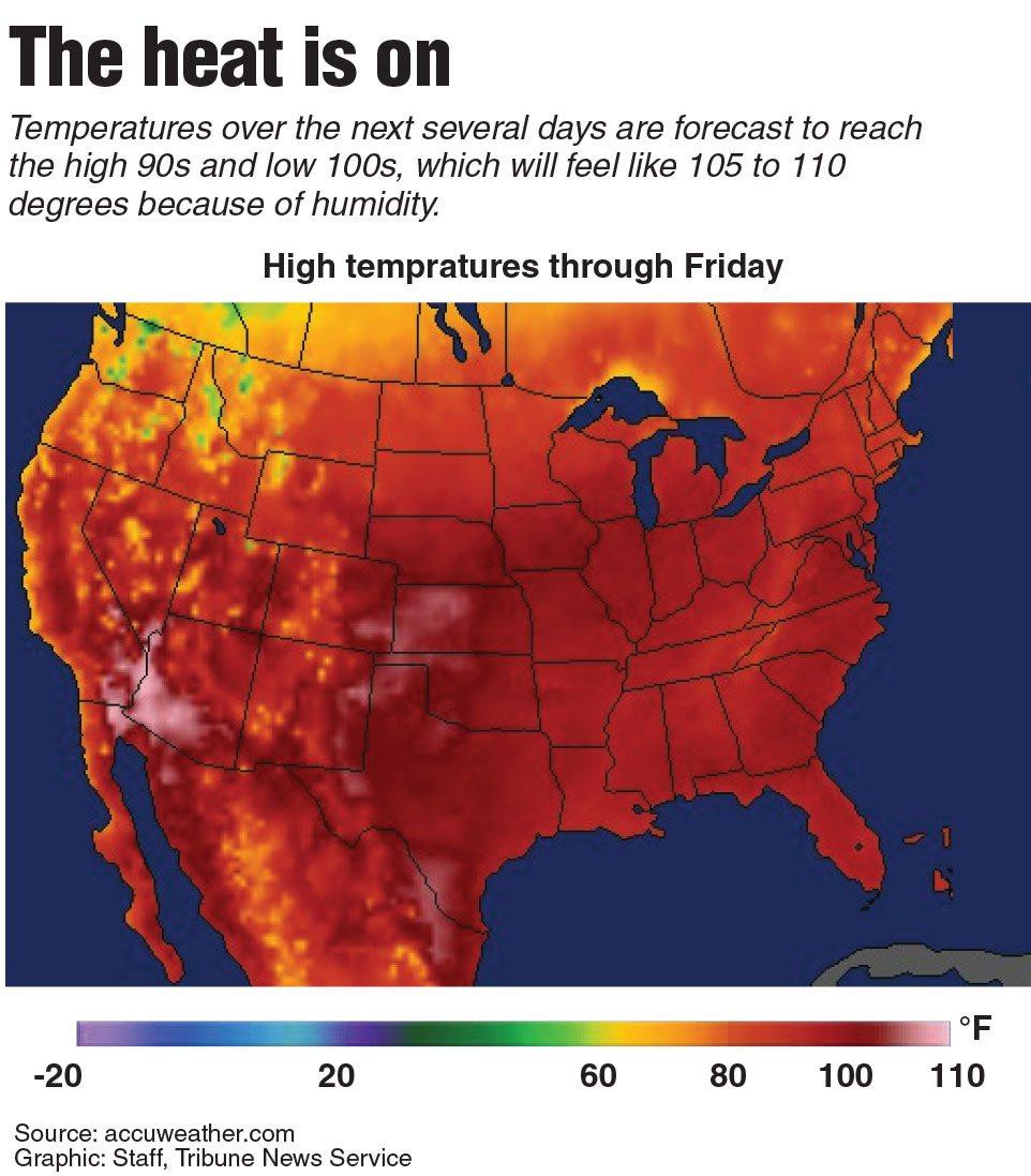 星期五的全美氣溫圖,許多地方達到100℉。 (TNS)