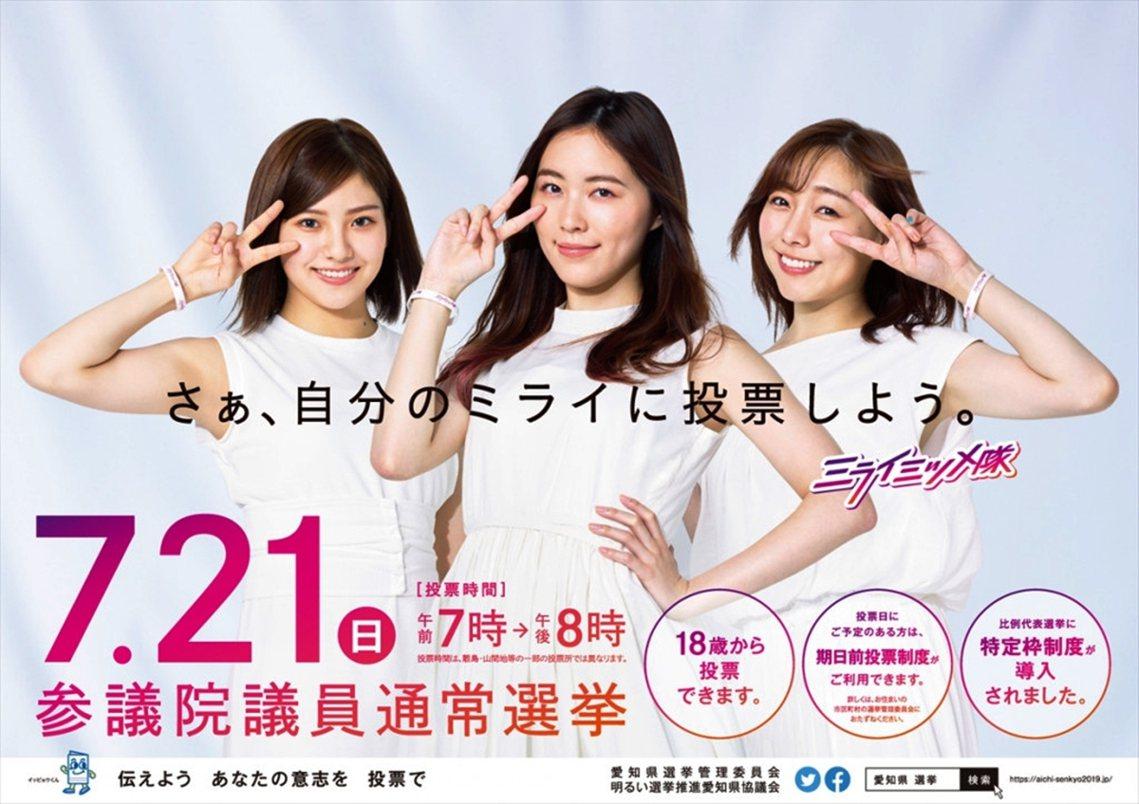 圖為日本愛知縣推出的選舉投票宣傳,請來SKE48成員代言,鼓勵年輕人出來投票。日...