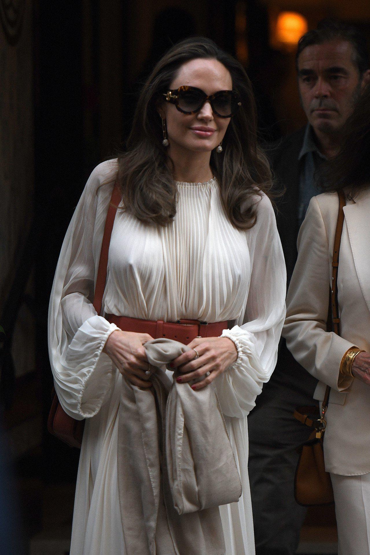 安潔莉娜裘莉身穿THE ROW縐褶長袍,配襯路易威登Paris Texas墨鏡以...